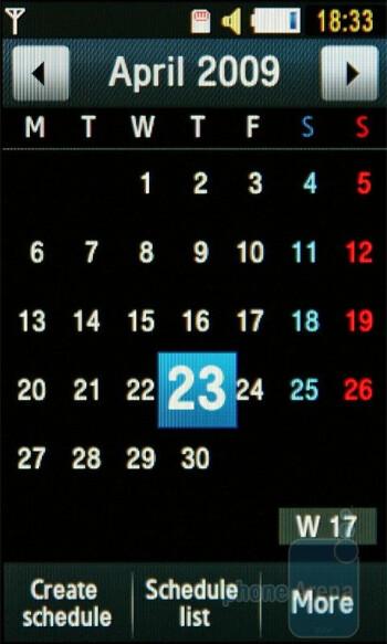 Calendar - Samsung UltraTOUCH S8300 Organizer - Samsung UltraTOUCH S8300 Review
