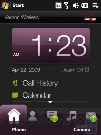 Home tab - HTC Touch Diamond CDMA Review