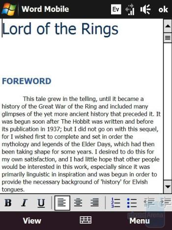 Word - HTC Touch Diamond CDMA Review