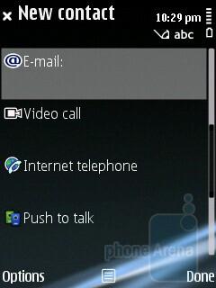 Adding a contact - Nokia E75 Review