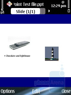 PowerPoint - The preloaded Quickoffice pack on the Nokia E75 kicks in when you need to go over or edit Office documents and Power point presentations. - Nokia E75 Review
