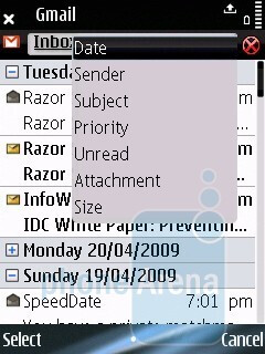 Writing a message, navigation and filtering options - Nokia E75 Review
