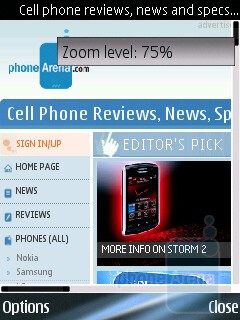 The Symbian S60 browser of Nokia E75 is great indeed - Nokia E75 Review