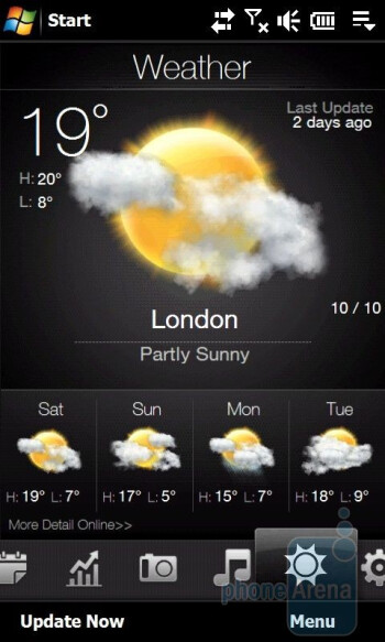 Weather forecast - HTC Touch Diamond2 Review