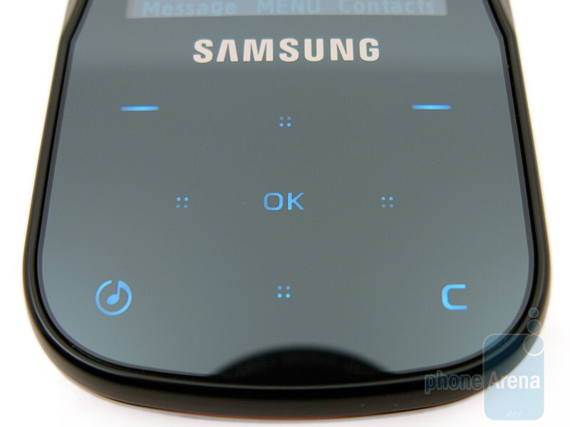 The 2.1-inch display and the touch-sensitive buttons - Samsung Trance U490 Review