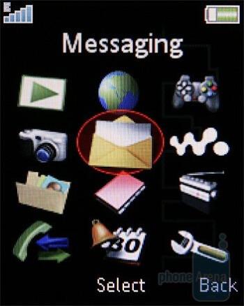 Main menu - Sony Ericsson W395 Review