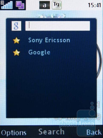 Google search - The Sony Ericsson C510's home screen has shortcuts to the Google search panel and the multimedia menu - Sony Ericsson C510 Review