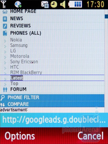 Web Browser - Samsung Ultra B S7220 Review