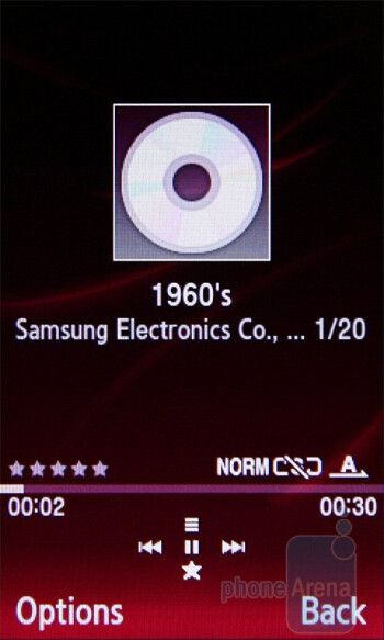 The music player of the Samsung Ultra S S7350 - Samsung Ultra S S7350 Review