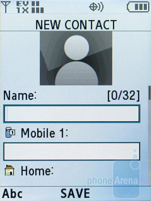 Adding a new contact - Samsung Alias 2 U750 Review