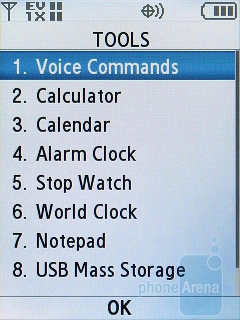 Tools menu - Samsung Alias 2 U750 Review