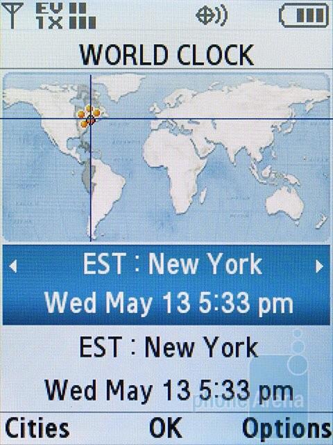 World clock - Samsung Alias 2 U750 Review