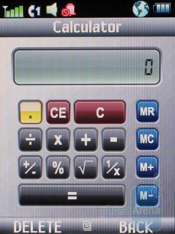 Homescreen on the external and the internal displays, internal main menu, and calculator app - Motorola Stature i9 Review