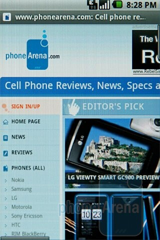 We experienced no issues with the Samsung Galaxy I7500's browser - Samsung Galaxy I7500 Preview