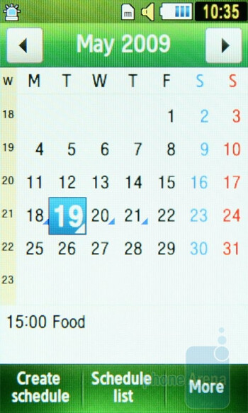 Calendar - Some of the organizer functions of Samsung Star S5230 - Samsung Star S5230 Review