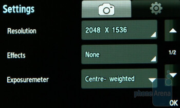Camera interface - Samsung Star S5230 Review