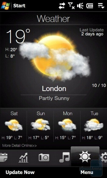 Weather forecast - Тhe tabs you'll find on the HTC Touch Pro2 - HTC Touch Pro2 Review