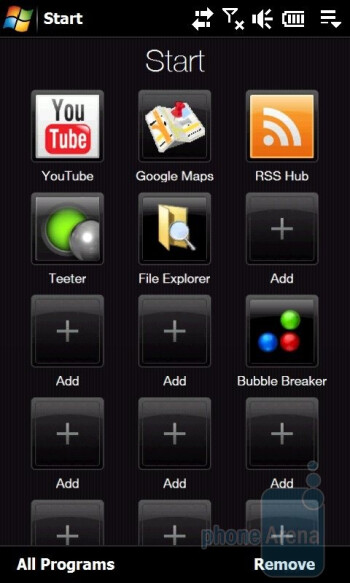 The Start menu of the HTC Touch Pro2 - HTC Touch Pro2 Review