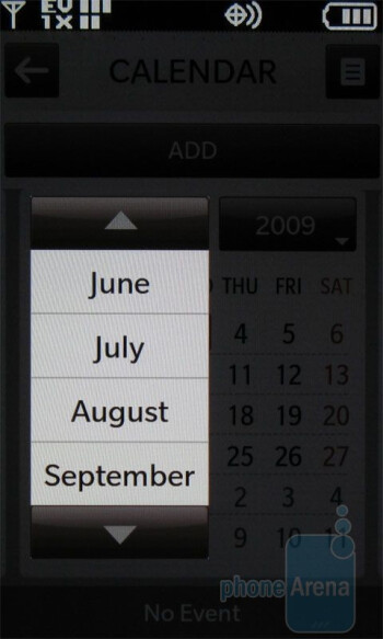 The calendar of the LG enV Touch VX11000 - LG enV Touch VX11000 Review