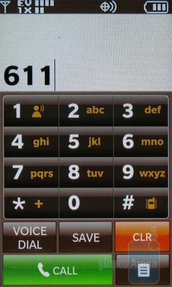 Dialing screen - LG enV Touch VX11000 Review