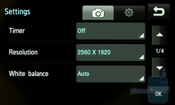 Camera interface - Samsung Jet S8000 Preview