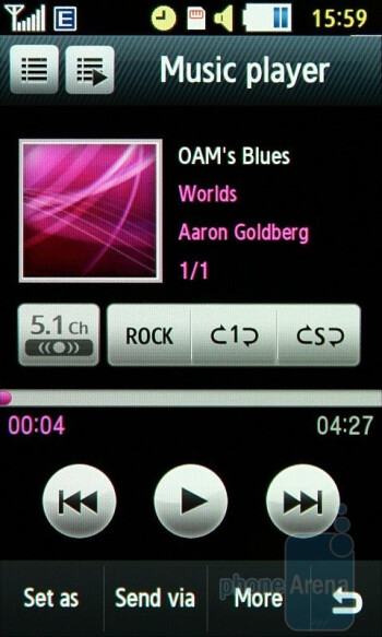 Music player - Samsung Jet S8000 Preview