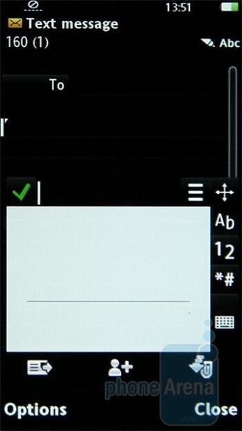 Text input methods - Sony Ericsson Satio Preview