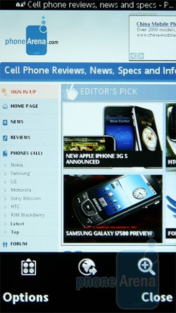 Internet browser - Sony Ericsson Satio Preview