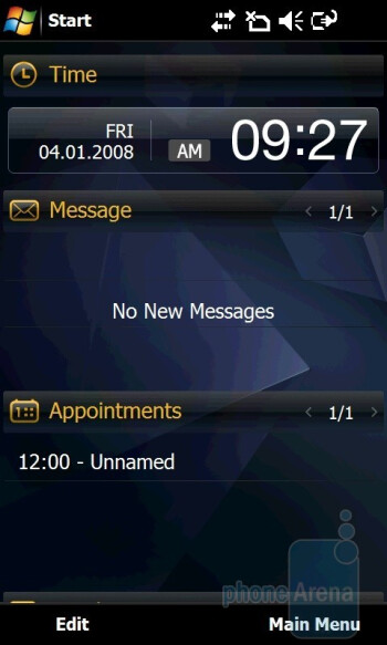 'Work' home screen - Samsung Giorgio Armani B7620 Preview