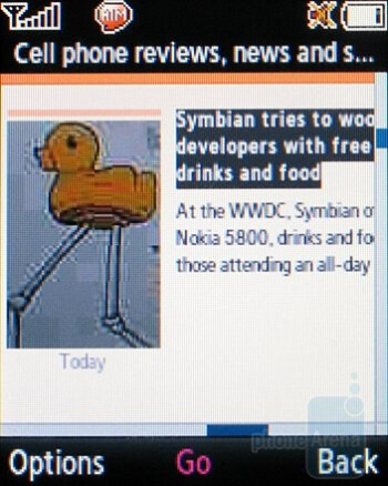Browsing the web - Samsung SGH-T349 Review