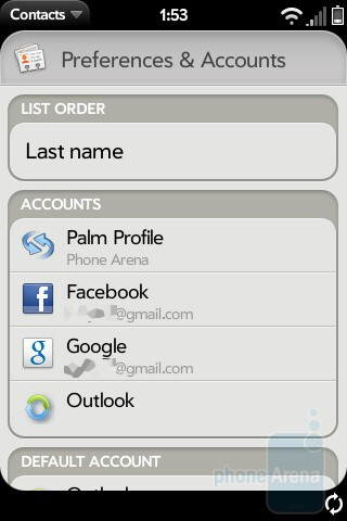 The phonebook of Palm Pre - Palm Pre Review