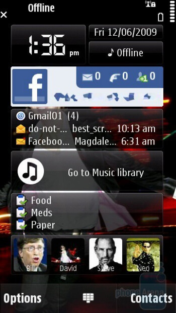 Home screen - Nokia N97 Review