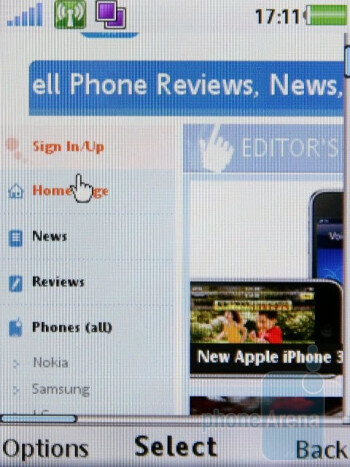 The browser of Sony Ericsson W995 comes with a pan option to make your navigation even easier - Sony Ericsson W995 Review