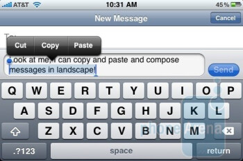 Users can FINALLY rotate the Apple iPhone 3GS for a landscape keyboard in Mail and Messaging - Apple iPhone 3GS Review
