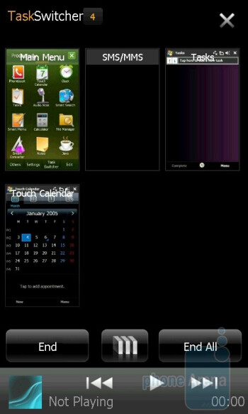 Task manager - Samsung OmniaPRO B7610 utilizes the TouchWiz 2.0 interface - Samsung OmniaPRO B7610 Preview