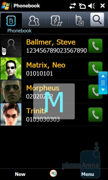 Phonebook - Samsung OmniaPRO B7610 Preview