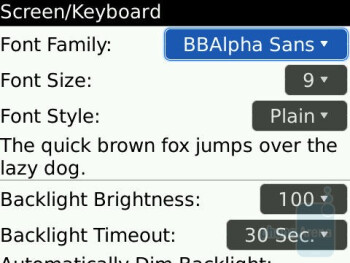 Keyboard settings - RIM BlackBerry Tour 9630 Review