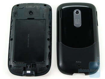 The back is a mix of glossy and matte plastic - HTC Snap CDMA Review