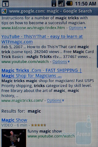 Internet browsing - HTC Magic Review