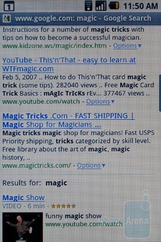 Internet browsing - HTC Magic Review