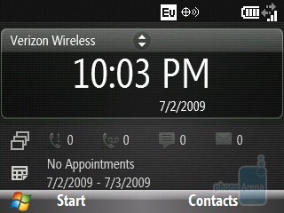 Home screen of the HTC Ozone XV6175 - HTC Ozone XV6175 Review