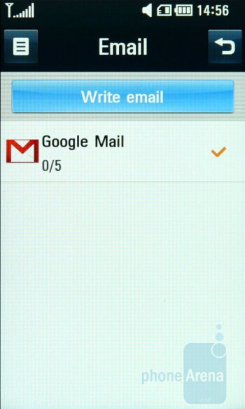 Setting up email accounts - LG Crystal GD900 Review