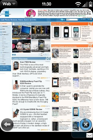 Browsing the web on the Palm Pre - Palm Pre and Apple iPhone 3GS: side by side