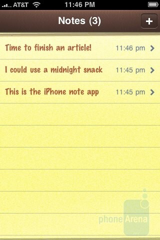 The Notes app of the iPhone 3GS - Palm Pre and Apple iPhone 3GS: side by side