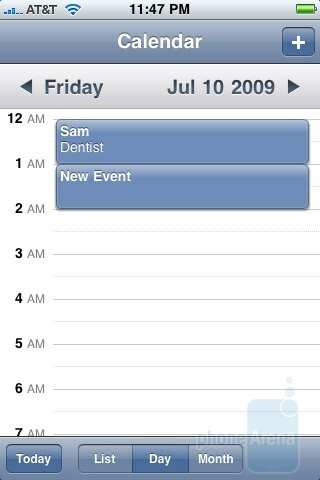 iPhone 3GS's calendar - Palm Pre and Apple iPhone 3GS: side by side