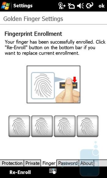 Fingerprint sensor settings - Acer M900 Review