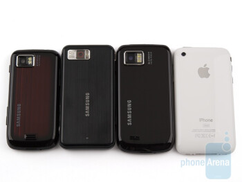From left to right and bottom to top - Samsung Jet S8000, Samsung Omnia, Samsung Omnia II I8000, Apple iPhone 3GS - Samsung Omnia II I8000 Review