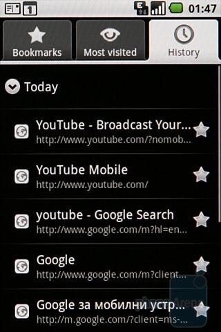 Internet browsing - Samsung Galaxy I7500 Review