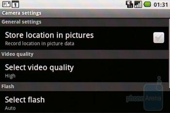 Camera interface - Samsung Galaxy I7500 Review