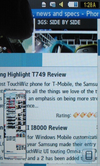 The browser works well for a device not engineered as a smartphone - Samsung Solstice A887 Review